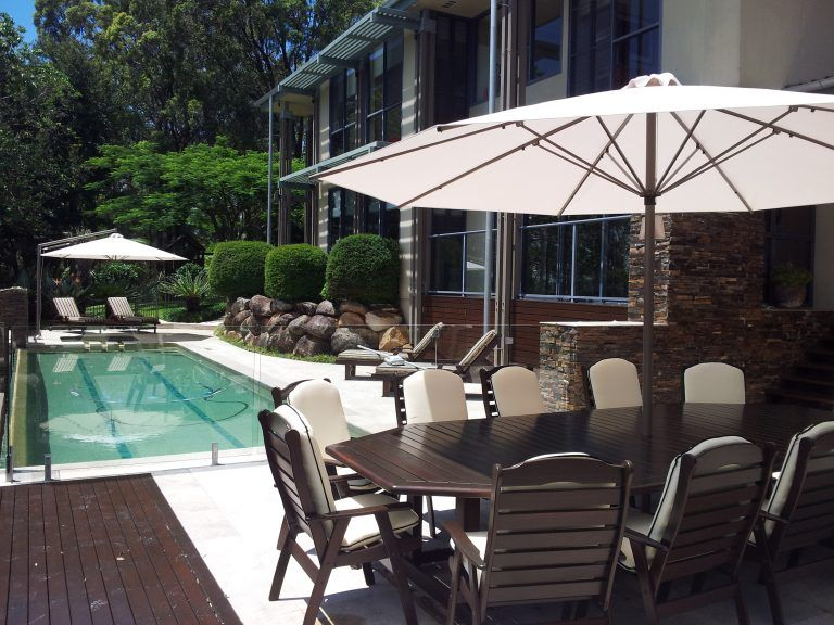 white Outdoor umbrellas for swimming pools