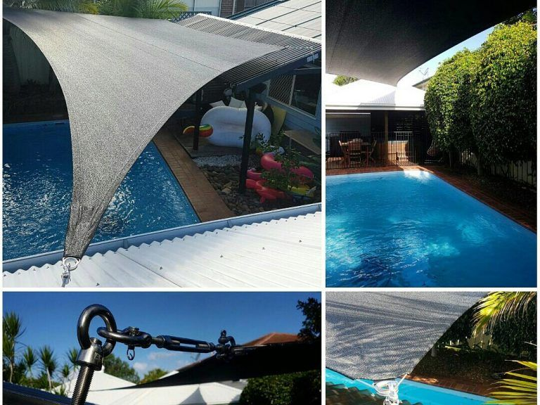 shade sails over swimming pools