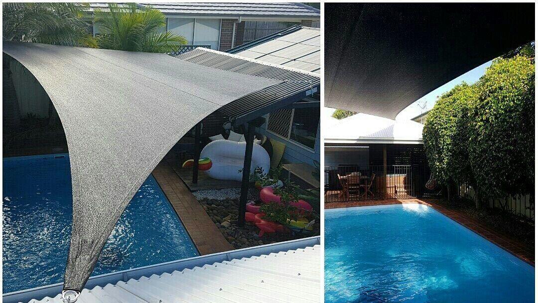 dark shade sails over swimming pools