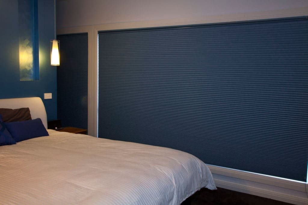 honeycomb blinds in bedroom