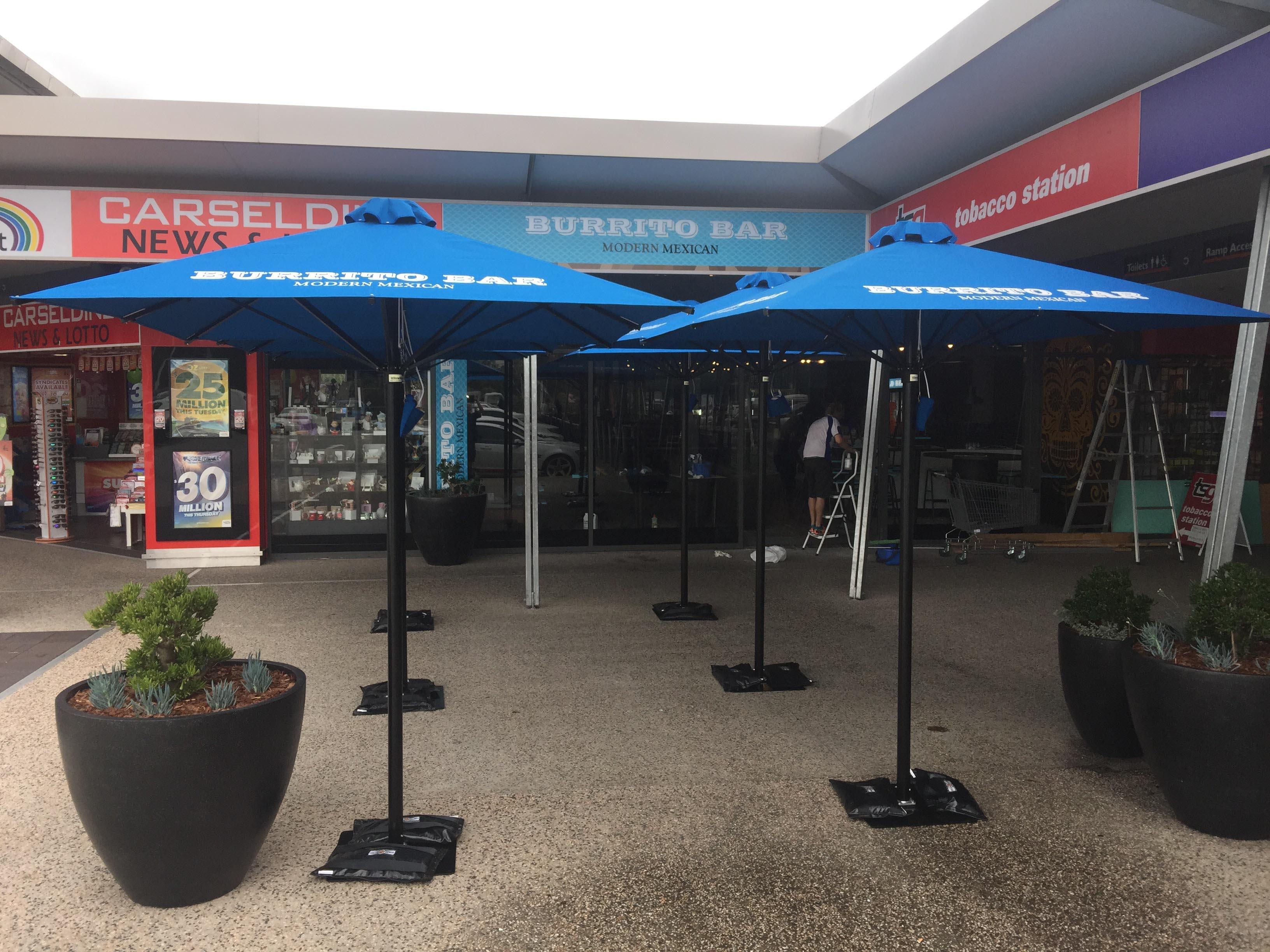 blue outdoor umberlla