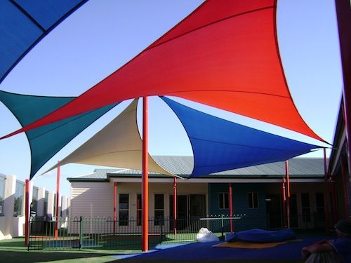 red and blue shade sails