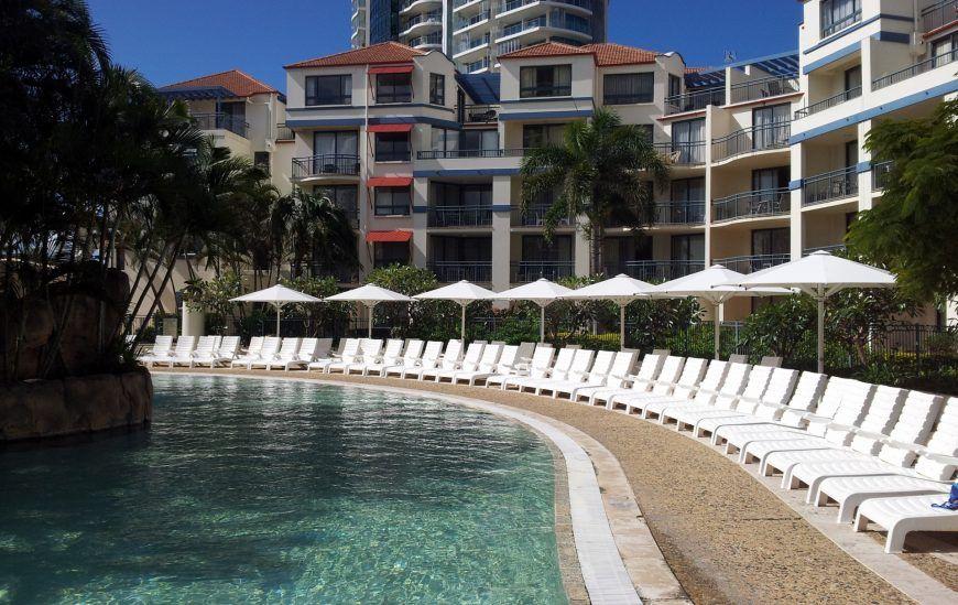 CE Heavy Duty Umbrellas by resort pool