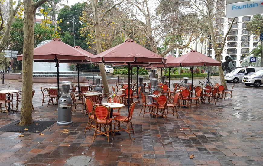 HE Cafe & Market Umbrellas for outdoor seating