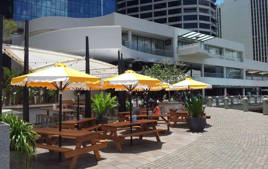 HE Cafe & Market Umbrella at cafe